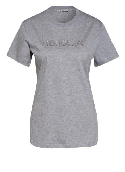 MONCLER T-Shirt mit Schmucksteinbesatz, Farbe: HELLGRAU/ GRAU/ WEISS (Bild 1)