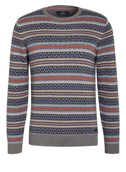 RAGMAN Pullover, Farbe: GRAU/ DUNKELBLAU/ DUNKELORANGE (Bild 1)