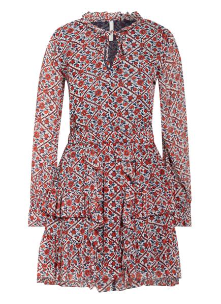 Pepe Jeans Kleid JANE mit Volantbesatz, Farbe: WEISS/ DUNKELBLAU/ DUNKELORANGE (Bild 1)