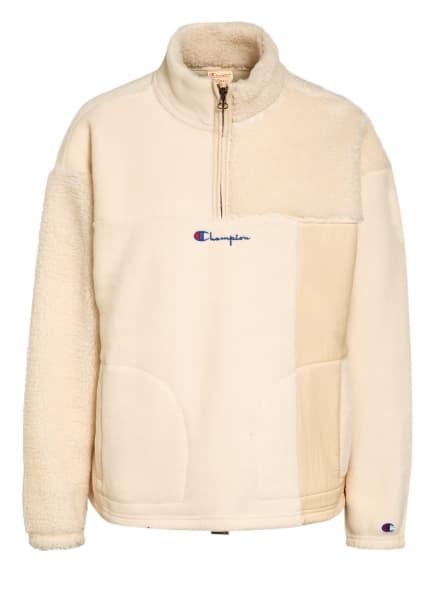 Champion Sweatshirt mit Kunstfellbesatz, Farbe: CREME (Bild 1)