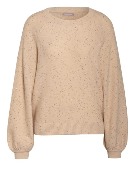 HEMISPHERE Cashmere-Pullover mit Paillettenbesatz, Farbe: NUDE/ SILBER (Bild 1)