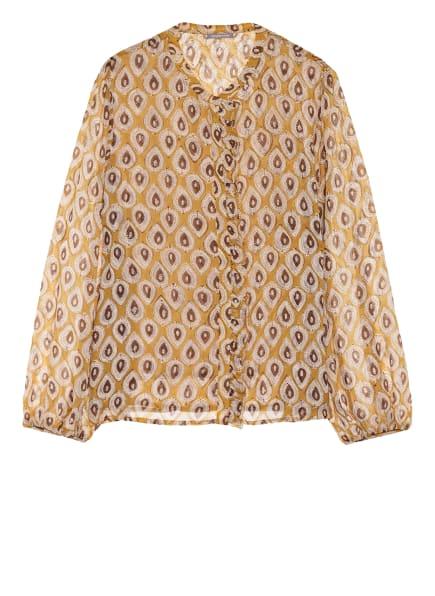 HEMISPHERE Bluse mit Rüschenbesatz, Farbe: DUNKELGELB/ ECRU/ BRAUN (Bild 1)