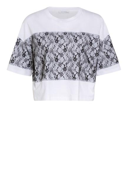 NINETY PERCENT T-Shirt mit Spitzenbesatz, Farbe: WEISS/ SCHWARZ (Bild 1)