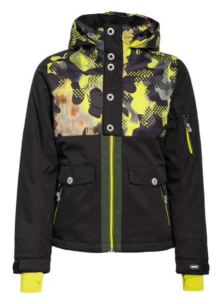 Rehall Skijacke EMMY-R, Farbe: SCHWARZ/ NEONGELB/ COGNAC (Bild 1)