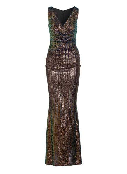 TALBOT RUNHOF Abendkleid mit Paillettenbesatz, Farbe: GOLD/ ROSÉ/ GRÜN (Bild 1)