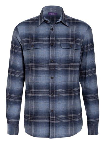 RALPH LAUREN PURPLE LABEL Flanellhemd Regular Fit, Farbe: HELLBLAU/ DUNKELBLAU (Bild 1)
