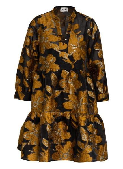 JUST FEMALE Jacquard-Kleid MAISON mit 3/4-Arm, Farbe: SCHWARZ/ GELB/ SILBER (Bild 1)