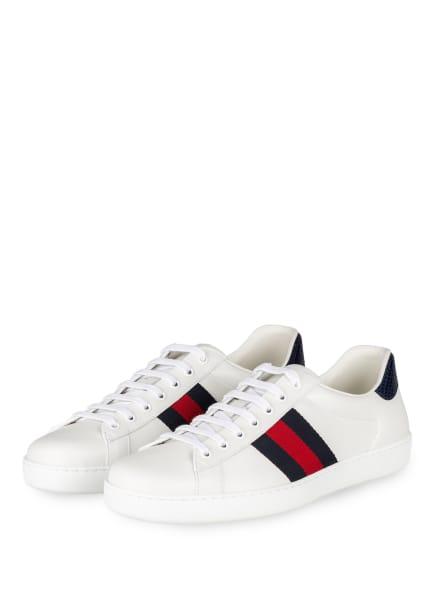 GUCCI Sneaker ACE, Farbe: WEISS/ DUNKELBLAU/ ROT (Bild 1)