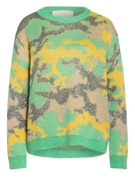 PATRIZIA PEPE Pullover mit Pailettenbesatz, Farbe: GRÜN/ GELB/ BEIGE (Bild 1)
