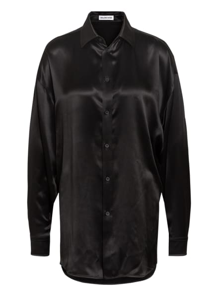 BALENCIAGA Oversized-Hemdbluse aus Seide , Farbe: SCHWARZ (Bild 1)