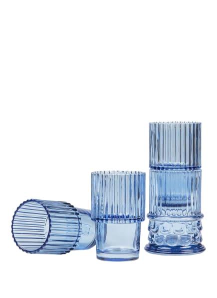DOIY 4er-Set Trinkgläser HESTIA, Farbe:  BLAU TRANSPARENT (Bild 1)