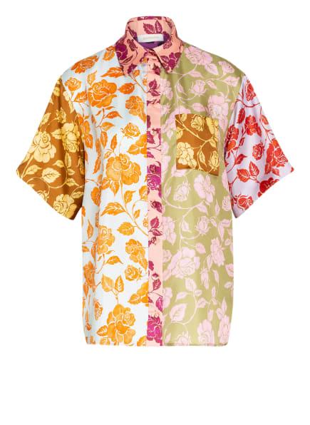 ZIMMERMANN Hemdbluse THE LOVESTRUCK aus Seide, Farbe: LACHS/ HELLBLAU/ OLIV (Bild 1)