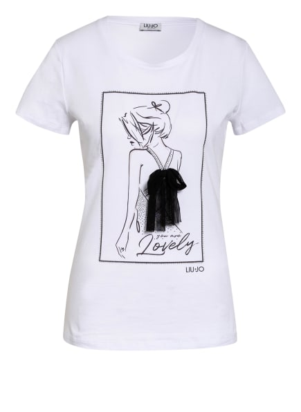 LIU JO T-Shirt mit Tüllbesatz, Farbe: WEISS (Bild 1)