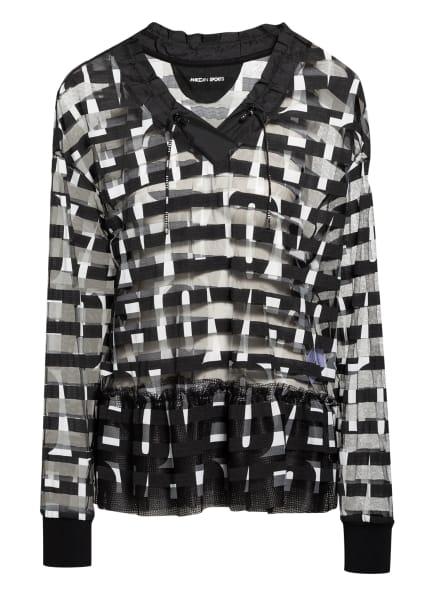 MARC CAIN Blusenshirt im Materialmix , Farbe: 190 white and black (Bild 1)