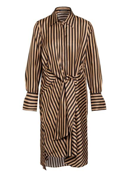 LUISA CERANO Hemdblusenkleid aus Seide, Farbe: SCHWARZ/ CAMEL (Bild 1)