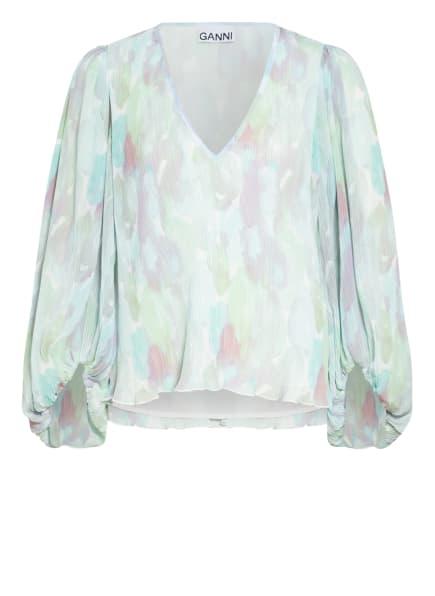 GANNI Plissee-Blusenshirt, Farbe: HELLGRÜN/ MINT/ WEISS (Bild 1)