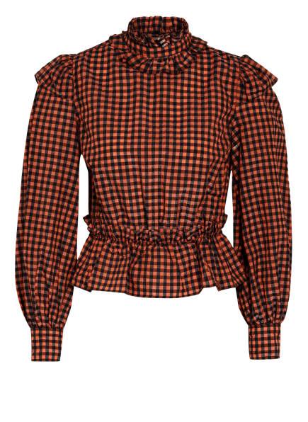 GANNI Blusenshirt, Farbe: SCHWARZ/ ORANGE (Bild 1)