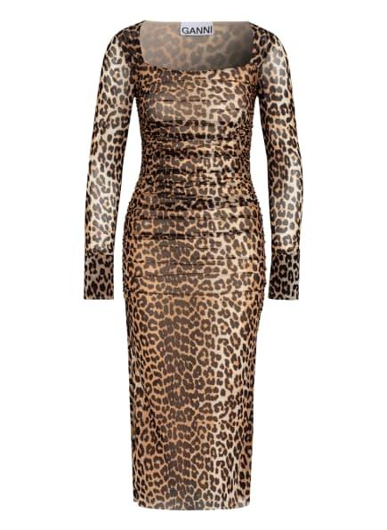 GANNI Kleid, Farbe: BEIGE/ SCHWARZ/ COGNAC (Bild 1)