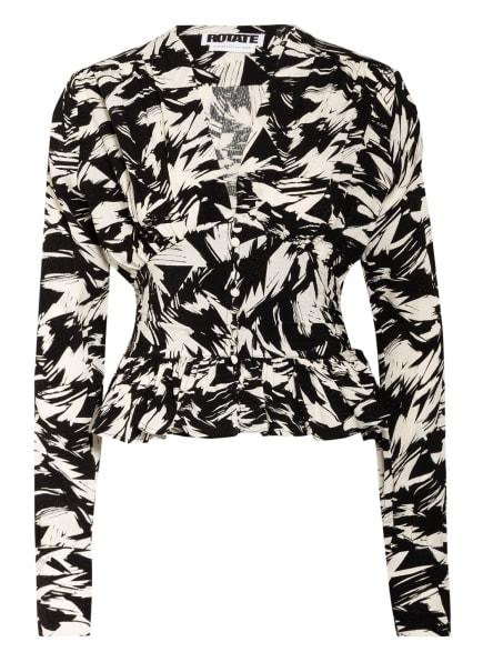 ROTATE BIRGER CHRISTENSEN Bluse TRACY mit Rüschenbesatz, Farbe: SCHWARZ/ WEISS (Bild 1)