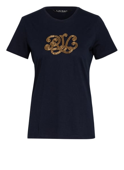 LAUREN RALPH LAUREN T-Shirt mit Schmucksteinbesatz, Farbe: DUNKELBLAU (Bild 1)