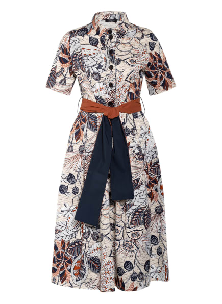ANNA's Hemdblusenkleid, Farbe: WEISS/ DUNKELBLAU/ COGNAC (Bild 1)