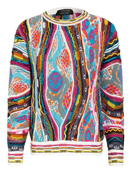 CARLO COLUCCI Pullover , Farbe: WEISS/ TÜRKIS/ ORANGE (Bild 1)