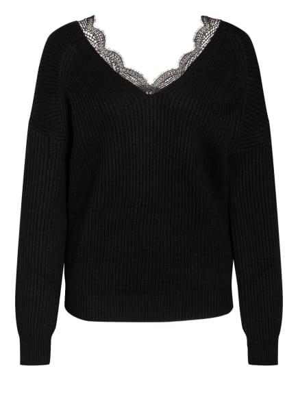 maje Pullover MATILDE mit Spitzenbesatz , Farbe: SCHWARZ (Bild 1)