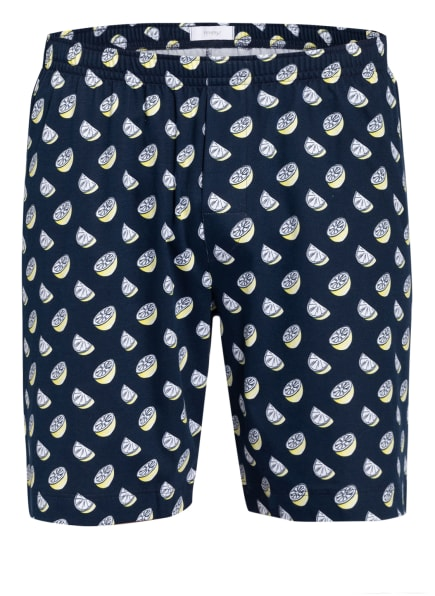 mey Lounge-Shorts Serie NEWTON , Farbe: DUNKELBLAU/ WEISS/ GELB (Bild 1)
