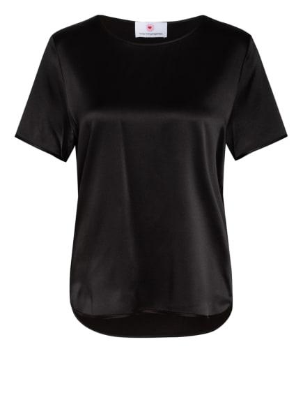 herzensangelegenheit Blusenshirt mit Seide im Materialmix, Farbe: SCHWARZ (Bild 1)