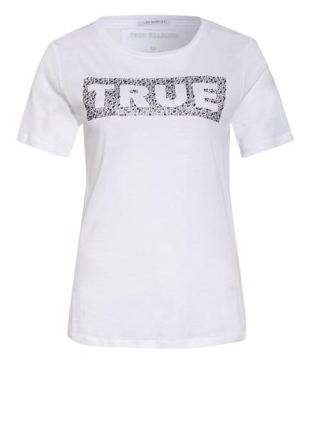 TRUE RELIGION T-Shirt TRUE mit Schmucksteinbesatz, Farbe: WEISS/ SCHWARZ (Bild 1)