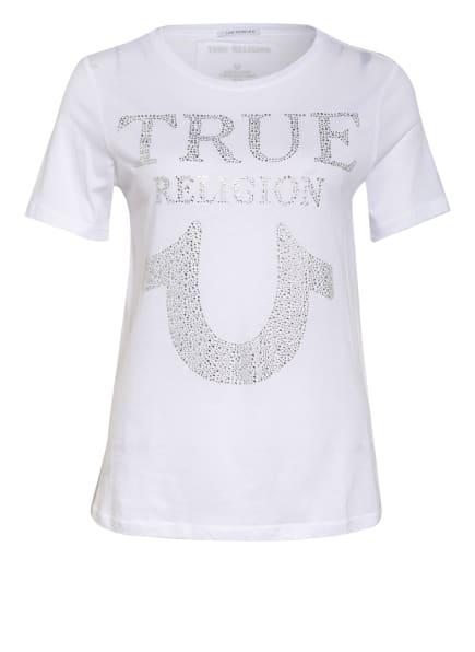TRUE RELIGION T-Shirt TRUE mit Schmucksteinbesatz, Farbe: WEISS/ SILBER (Bild 1)