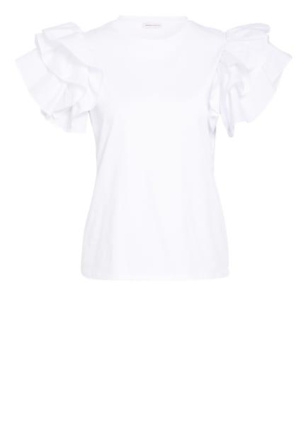 Alexander McQUEEN T-Shirt mit Volantbesatz, Farbe: WEISS (Bild 1)