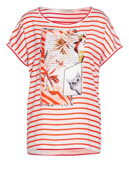 CATNOIR T-Shirt im Materialmix , Farbe: WEISS/ ROT (Bild 1)