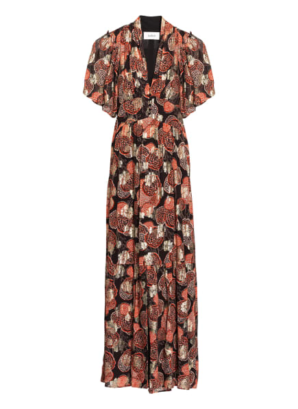 ba&sh Kleid HIDE mit Glanzgarn, Farbe: SCHWARZ/ ROT/ GOLD (Bild 1)