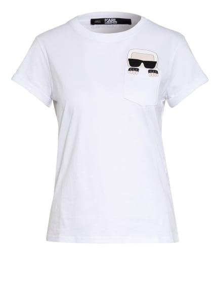 KARL LAGERFELD T-Shirt IKONIK mit Schmucksteinbesatz, Farbe: WEISS (Bild 1)