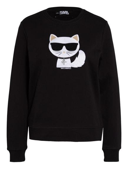 KARL LAGERFELD Sweatshirt IKONIK CHOUPETTE mit Schmucksteinbesatz, Farbe: SCHWARZ (Bild 1)