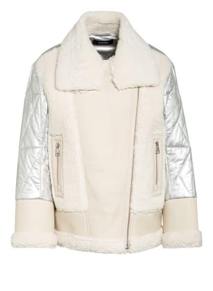 KARL LAGERFELD Jacke mit Kunstfellbesatz, Farbe: CREME/ SILBER (Bild 1)