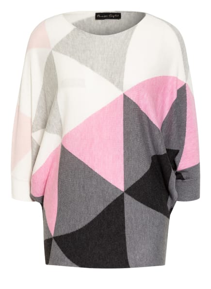 Phase Eight Oversized-Pullover BECCA mit 3/4-Arm, Farbe: WEISS/ GRAU/ ROSA (Bild 1)