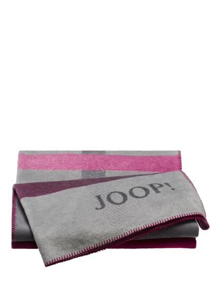JOOP! Plaid SQUARE , Farbe: GRAU/ BEERE (Bild 1)