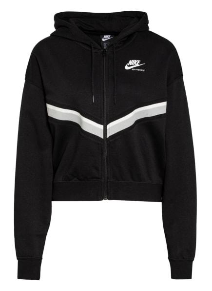 Nike Sweatjacke HERITAGE, Farbe: SCHWARZ/ WEISS/ GRAU (Bild 1)