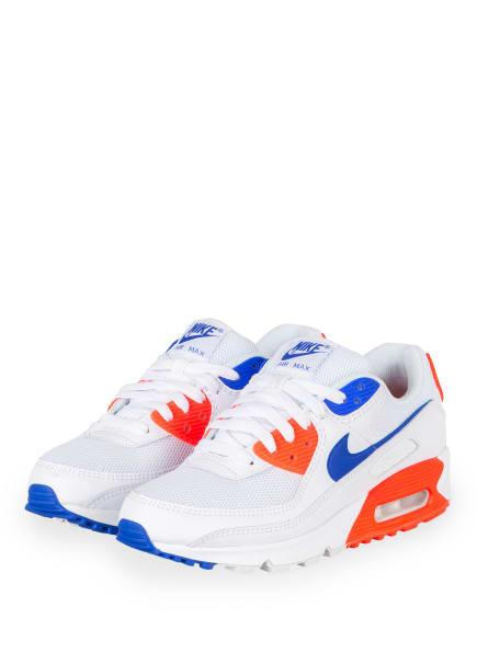 Nike Sneaker AIR MAX 90, Farbe: WEISS/ NEONROT/ BLAU (Bild 1)