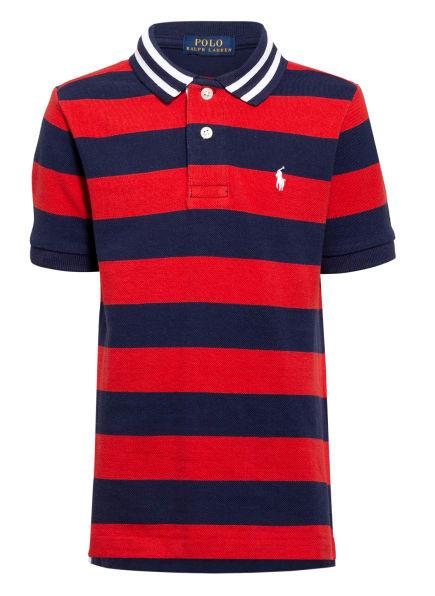 POLO RALPH LAUREN Piqué-Poloshirt, Farbe: DUNKELBLAU/ KHAKI (Bild 1)
