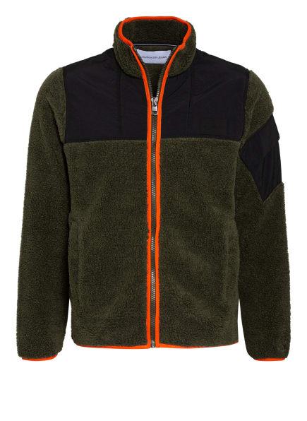 Calvin Klein Jeans Teddyfell-Jacke im Materialmix , Farbe: DUNKELGRÜN/ DUNKELBLAU/ ORANGE (Bild 1)