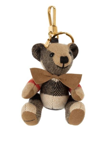 BURBERRY Schlüsselanhänger aus Cashmere, Farbe: BEIGE/ SCHWARZ/ ROT (Bild 1)