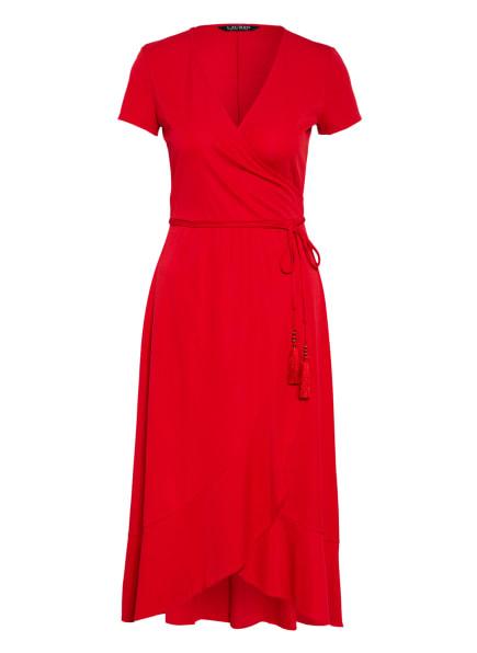 LAUREN RALPH LAUREN Wickelkleid mit Volantbesatz, Farbe: ROT (Bild 1)