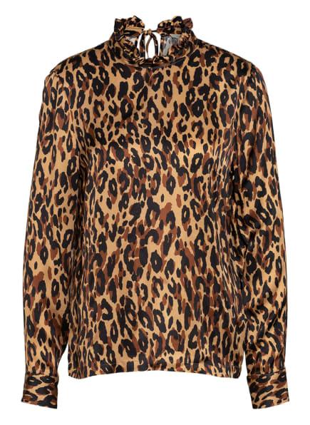 lilienfels Bluse mit Rüschenbesatz, Farbe: CAMEL/ COGNAC/ SCHWARZ (Bild 1)