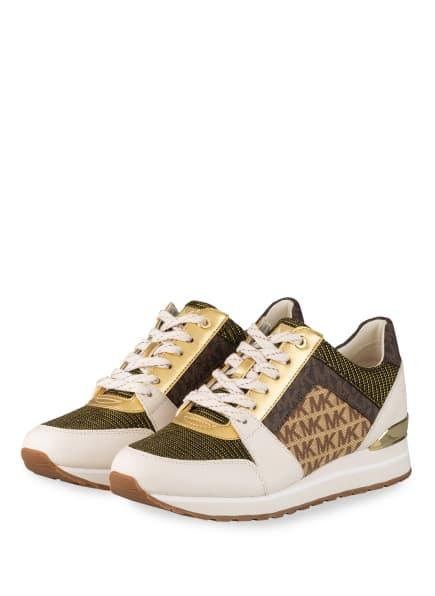 MICHAEL KORS Plateau-Sneaker BILLIE mit Glanzgarn, Farbe: CREME/ GOLD/ BRAUN (Bild 1)