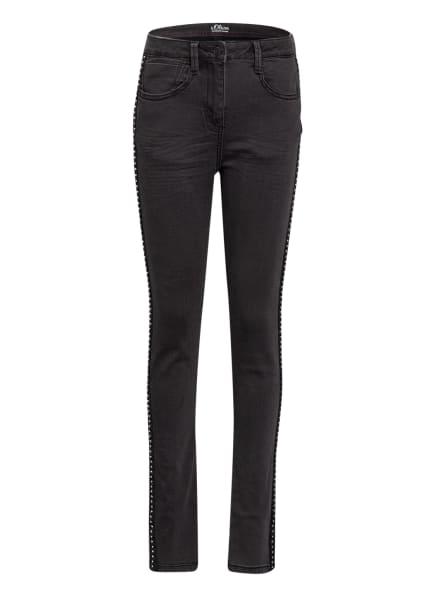 s.Oliver RED Skinny Jeans mit Galonstreifen, Farbe: DUNKELGRAU (Bild 1)