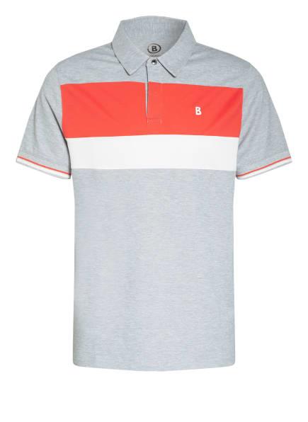 BOGNER Piqué-Poloshirt LAGOS, Farbe: GRAU/ ROT/ WEISS (Bild 1)