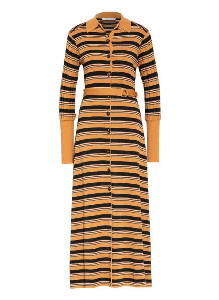 Chloé Hemdblusenkleid aus Strick, Farbe: CAMEL/ DUNKELGRÜN/ GELB (Bild 1)
